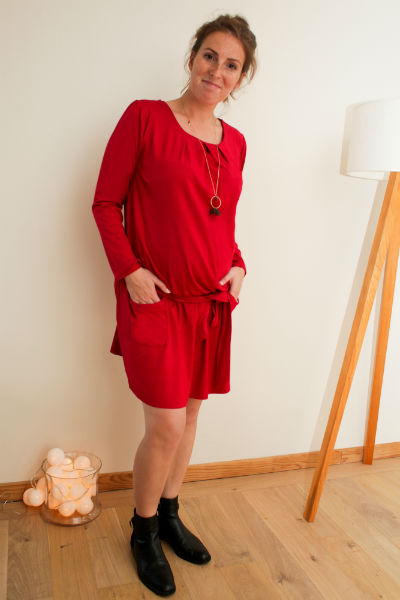 Robe Macha manches longues rouge